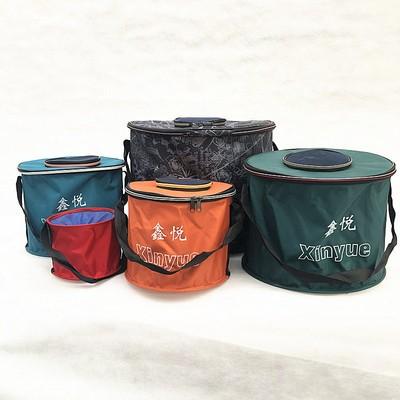 圆形帆布桶带支架牛津布折叠钓鱼桶防水帆布折叠便携式收缩鱼桶