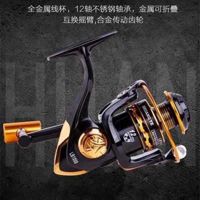 厂价直批全金属鱼线轮海竿轮大容量渔轮纺车轮斜口出线快顺滑鱼轮